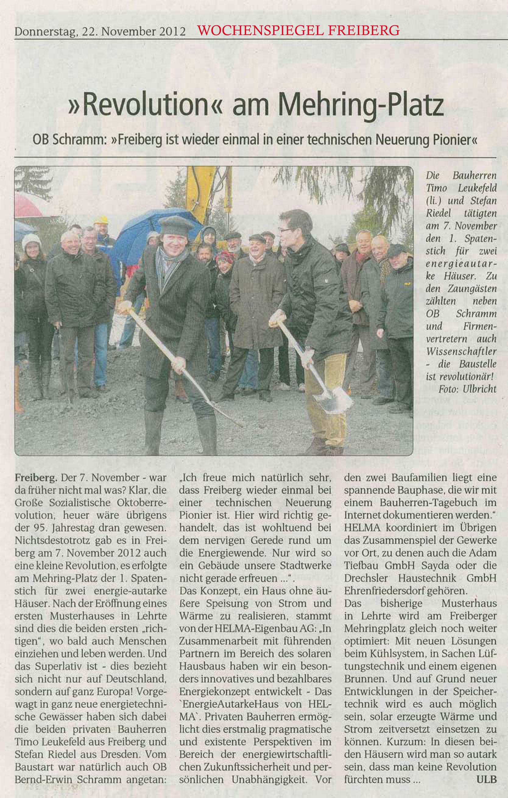 Wochenspiegel Freiberg, 22. November 2012